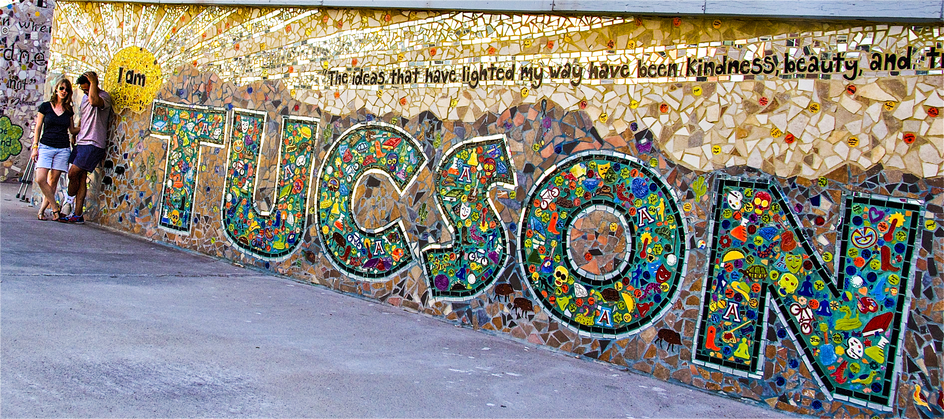Victoria and Raul at the I am Kindness Mosaic downtown Tucson by Ben's Bells studio
